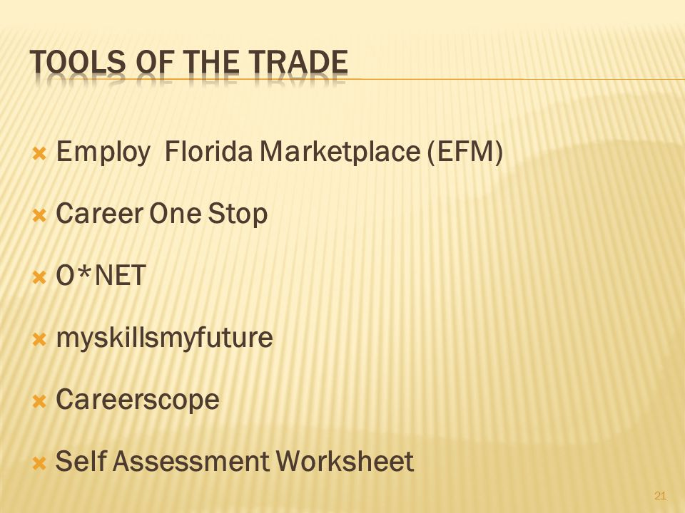 Employ Florida Marketplace (EFM)  Career One Stop  O*NET  myskillsmyfuture  Careerscope  Self Assessment Worksheet 21