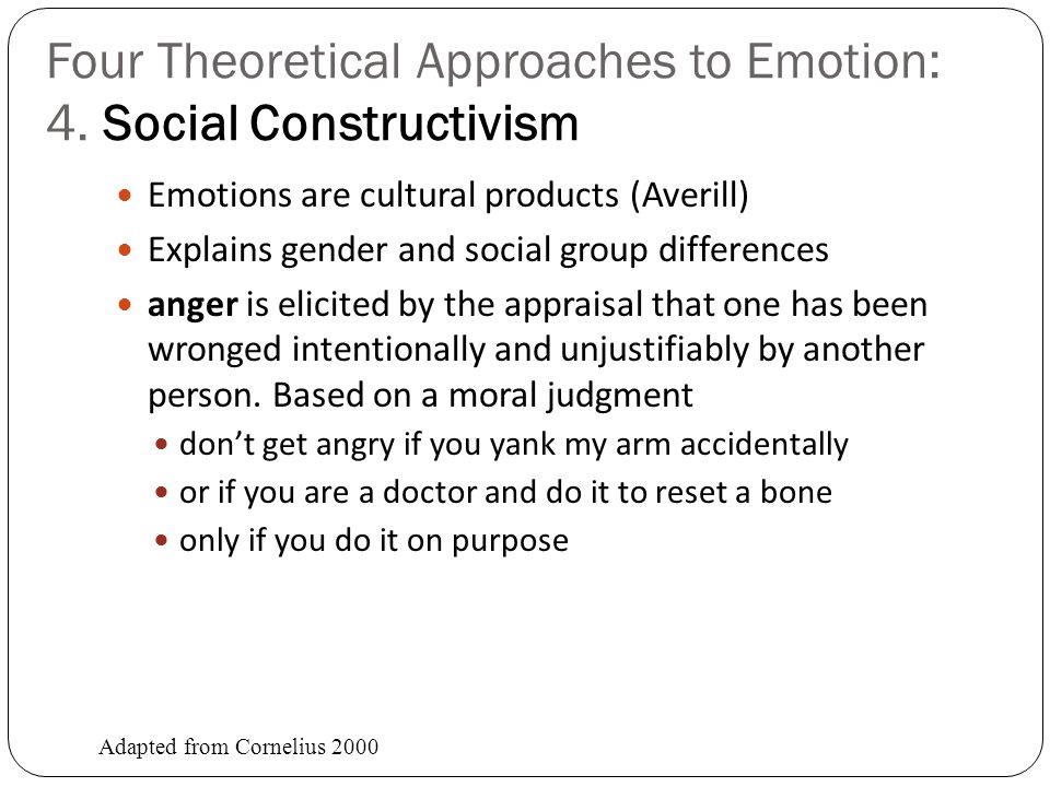 Four Theoretical Approaches to Emotion: 3.