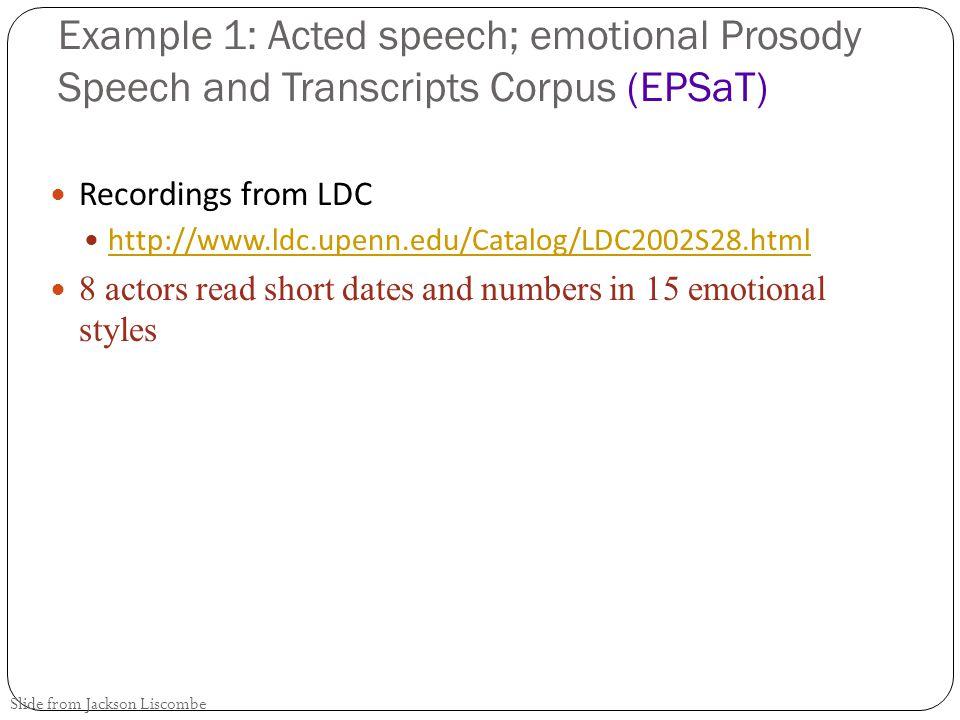 Four quick case studies 1.Acted speech: LDC's EPSaT 2.