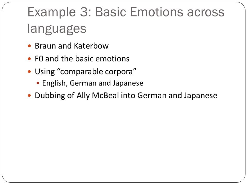 Ang et al '02 Conclusions Emotion labeling is a complex task Prosodic features: duration and stylized pitch Speaker normalizations help Language model not a good feature