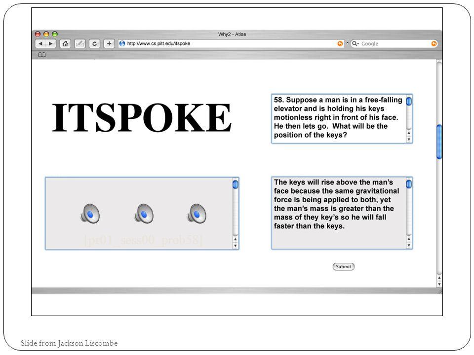Example 4: Intelligent Tutoring Spoken Dialogue System (ITSpoke) Diane Litman, Katherine Forbes-Riley, Scott Silliman, Mihai Rotaru, University of Pittsburgh, Julia Hirschberg, Jennifer Venditti, Columbia University Slide from Jackson Liscombe
