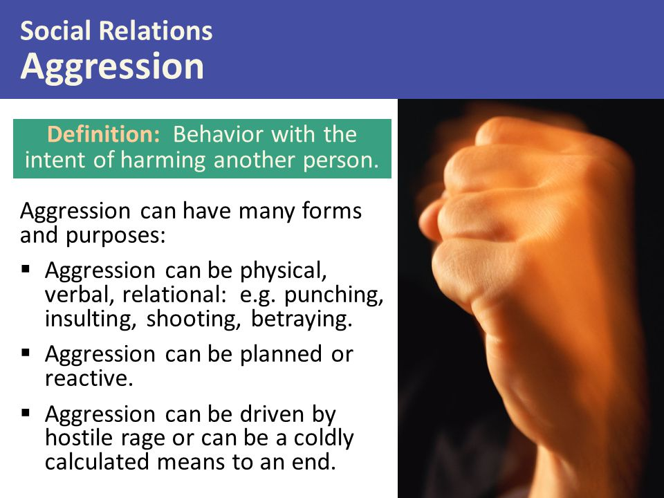 Aggression can have many forms and purposes:  Aggression can be physical, verbal, relational: e.g. punching, insulting, shooting, betraying.  Aggres