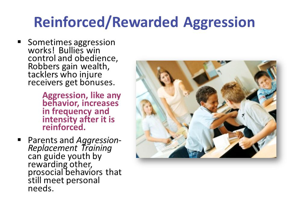  Sometimes aggression works! Bullies win control and obedience, Robbers gain wealth, tacklers who injure receivers get bonuses. Aggression, like any