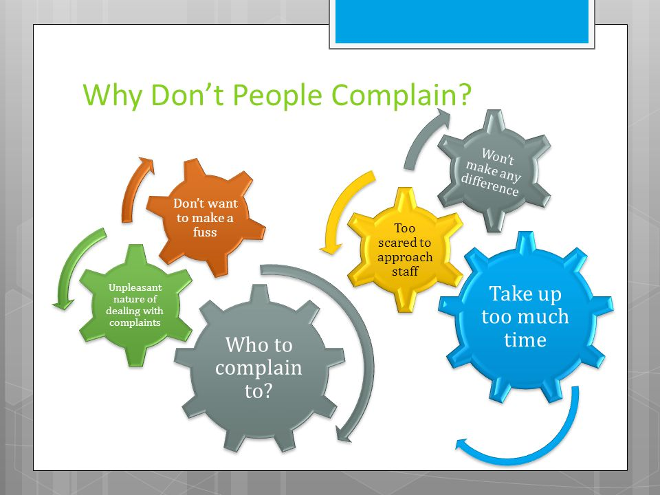 Why Don't People Complain? Take up too much time Too scared to approach staff Won't make any difference Who to complain to? Unpleasant nature of deali