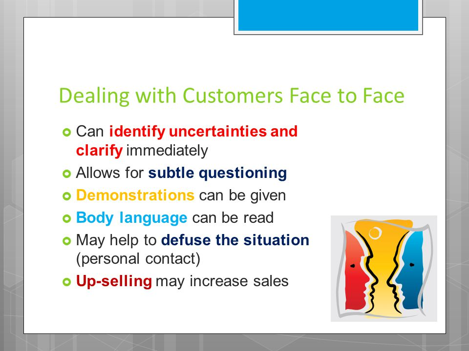 Dealing with Customers Face to Face  Can identify uncertainties and clarify immediately  Allows for subtle questioning  Demonstrations can be given