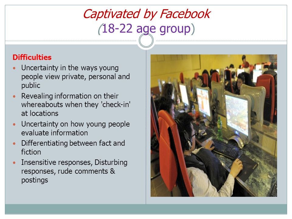 Captivated by Facebook (18-22 age group) Difficulties Uncertainty in the ways young people view private, personal and public Revealing information on their whereabouts when they check-in at locations Uncertainty on how young people evaluate information Differentiating between fact and fiction Insensitive responses, Disturbing responses, rude comments & postings