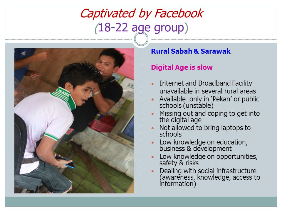 Captivated by Facebook (18-22 age group) Rural Sabah & Sarawak Digital Age is slow Internet and Broadband Facility unavailable in several rural areas