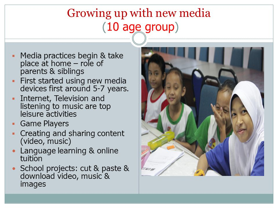 Growing up with new media (10 age group)  Media practices begin & take place at home – role of parents & siblings  First started using new media dev