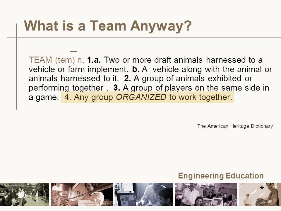 Engineering Education TEAM (tem) n, 1.a.
