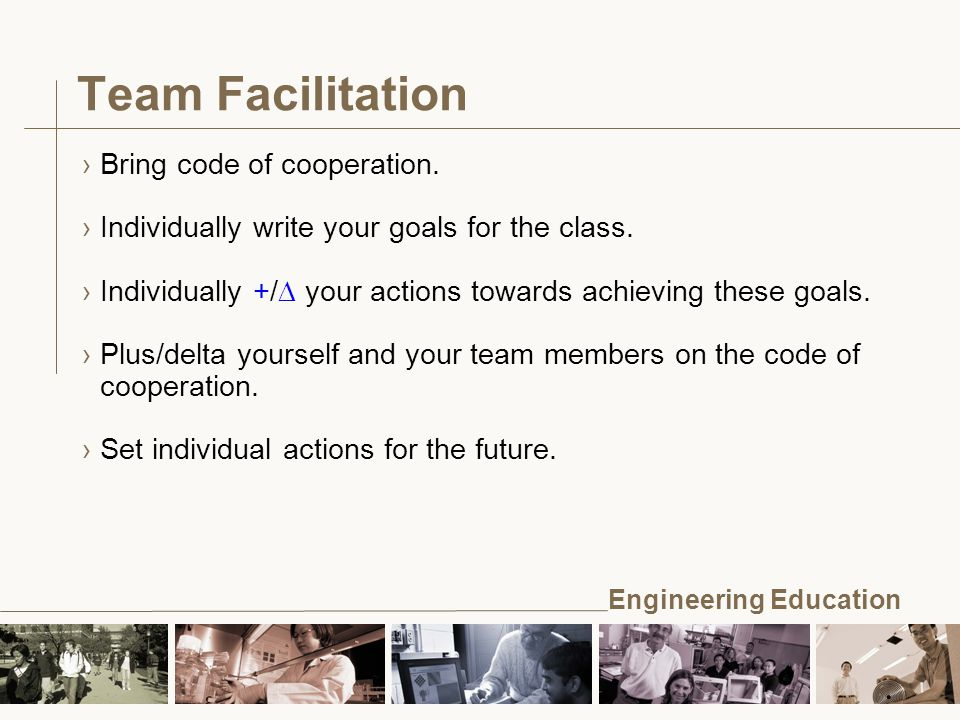 Engineering Education Team Facilitation ›Bring code of cooperation.