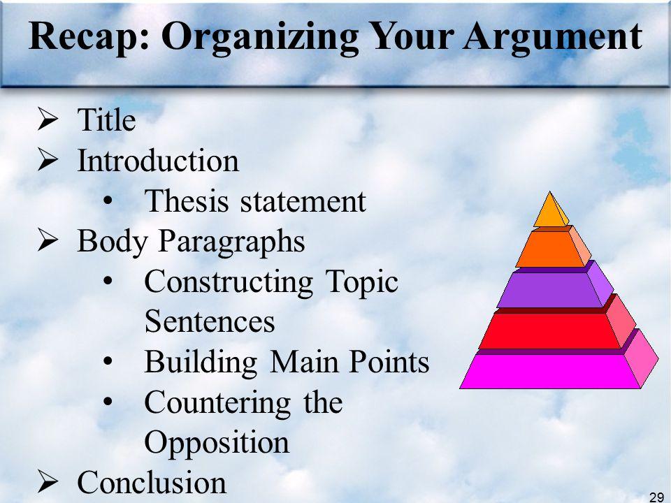 29 Recap: Organizing Your Argument  Title  Introduction Thesis statement  Body Paragraphs Constructing Topic Sentences Building Main Points Counter