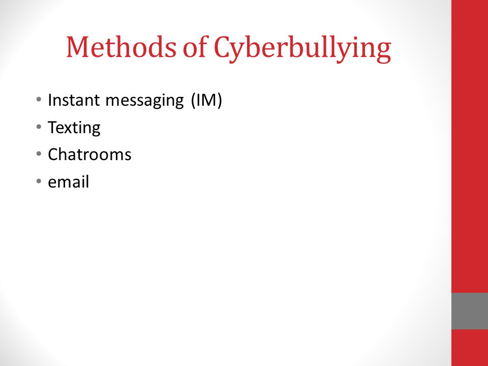 Methods of Cyberbullying Instant messaging (IM) Texting Chatrooms email
