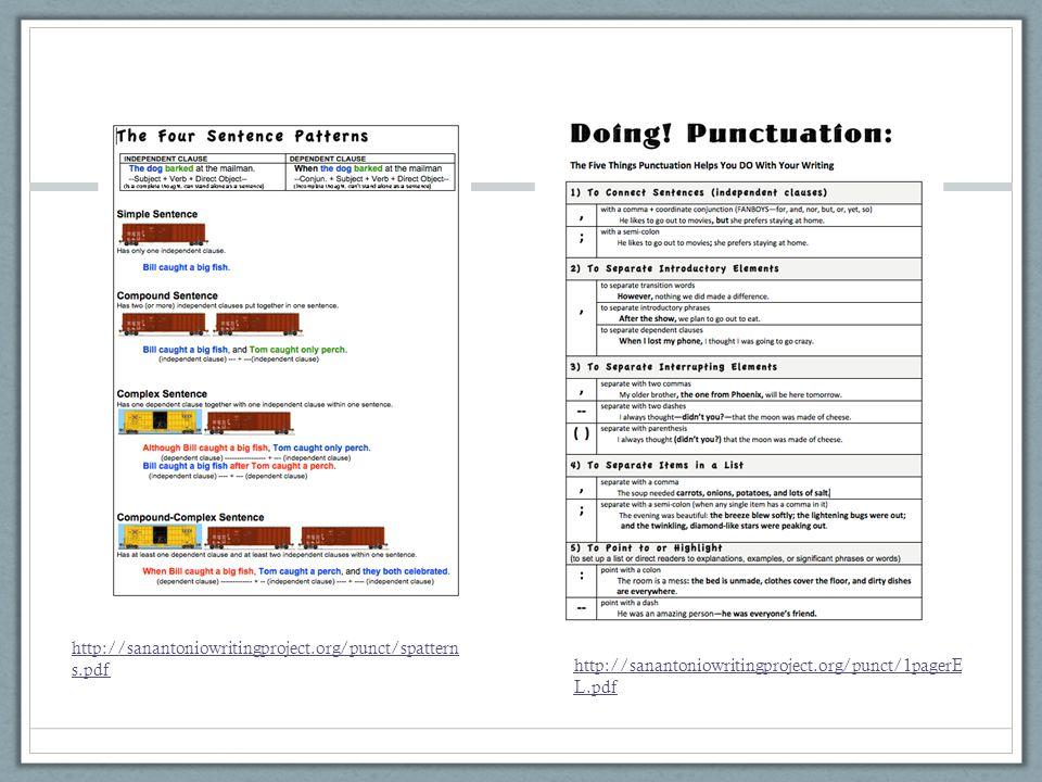 http://sanantoniowritingproject.org/punct/spattern s.pdf http://sanantoniowritingproject.org/punct/1pagerE L.pdf