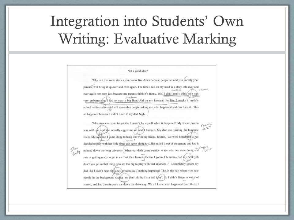 Integration into Students' Own Writing: Evaluative Marking