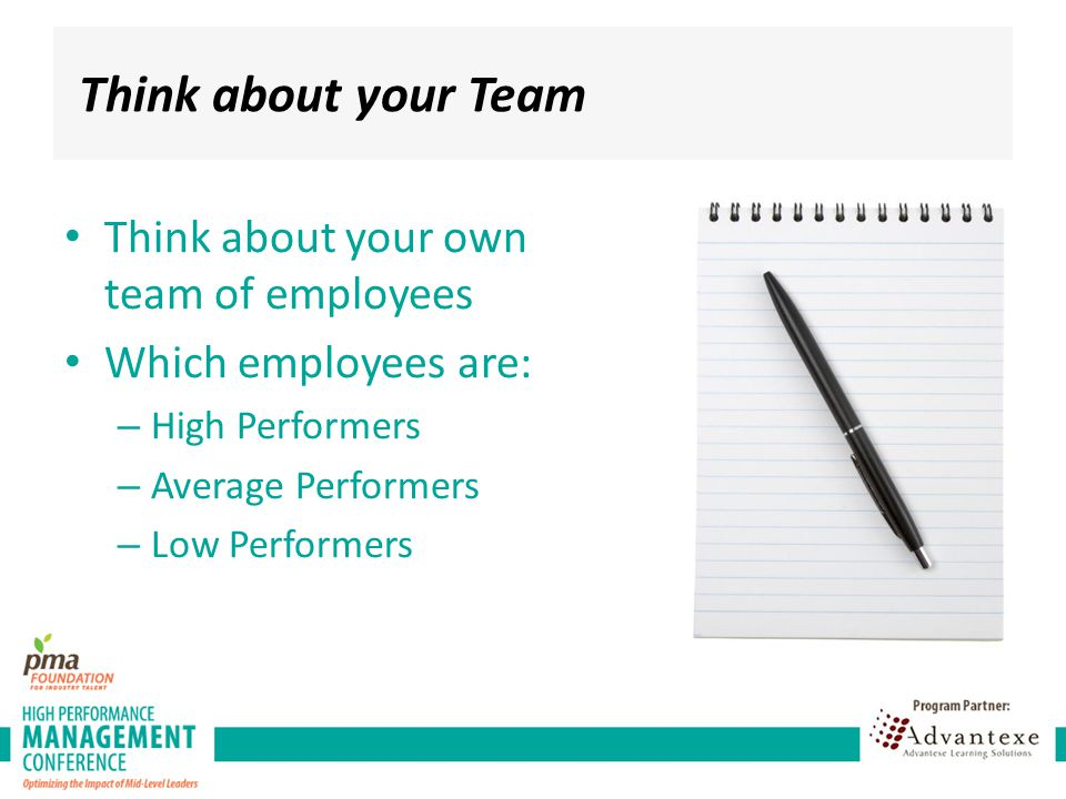 Think about your Team Think about your own team of employees Which employees are: – High Performers – Average Performers – Low Performers