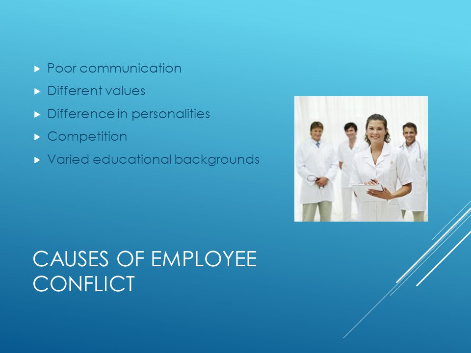 CAUSES OF EMPLOYEE CONFLICT  Poor communication  Different values  Difference in personalities  Competition  Varied educational backgrounds