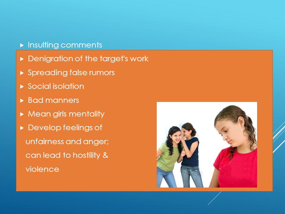 UNCIVIL BEHAVIORS  Insulting comments  Denigration of the target's work  Spreading false rumors  Social isolation  Bad manners  Mean girls menta