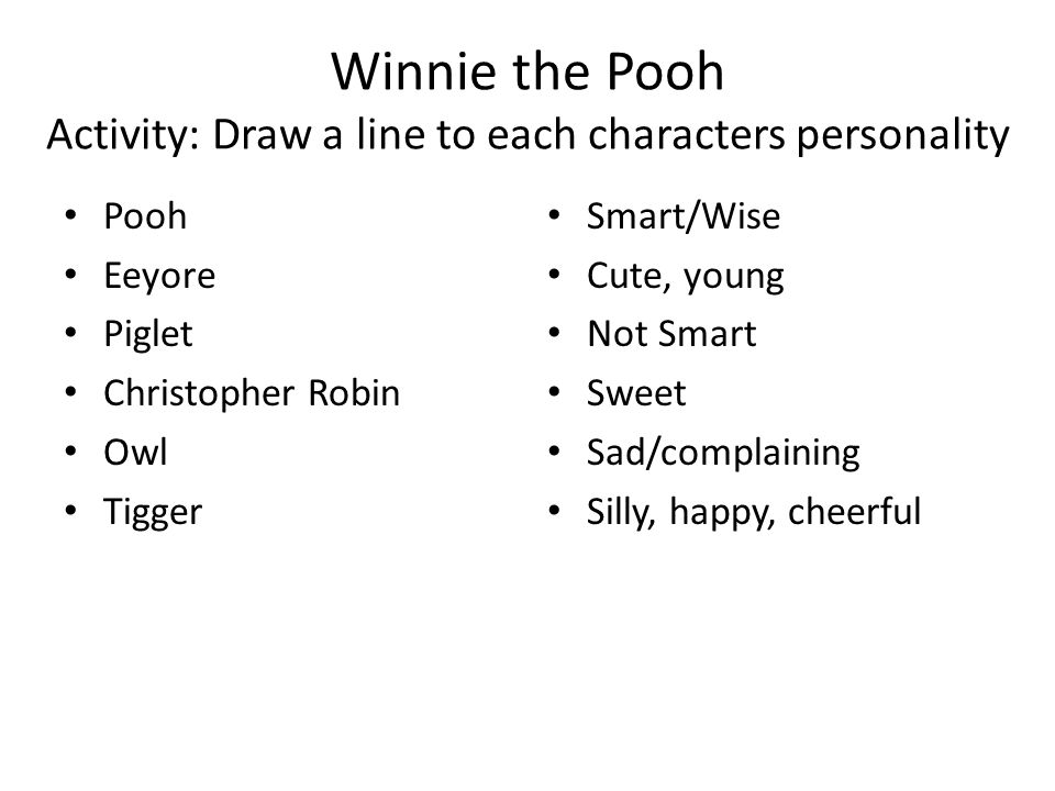 Winnie the Pooh Activity: Draw a line to each characters personality Pooh Eeyore Piglet Christopher Robin Owl Tigger Smart/Wise Cute, young Not Smart