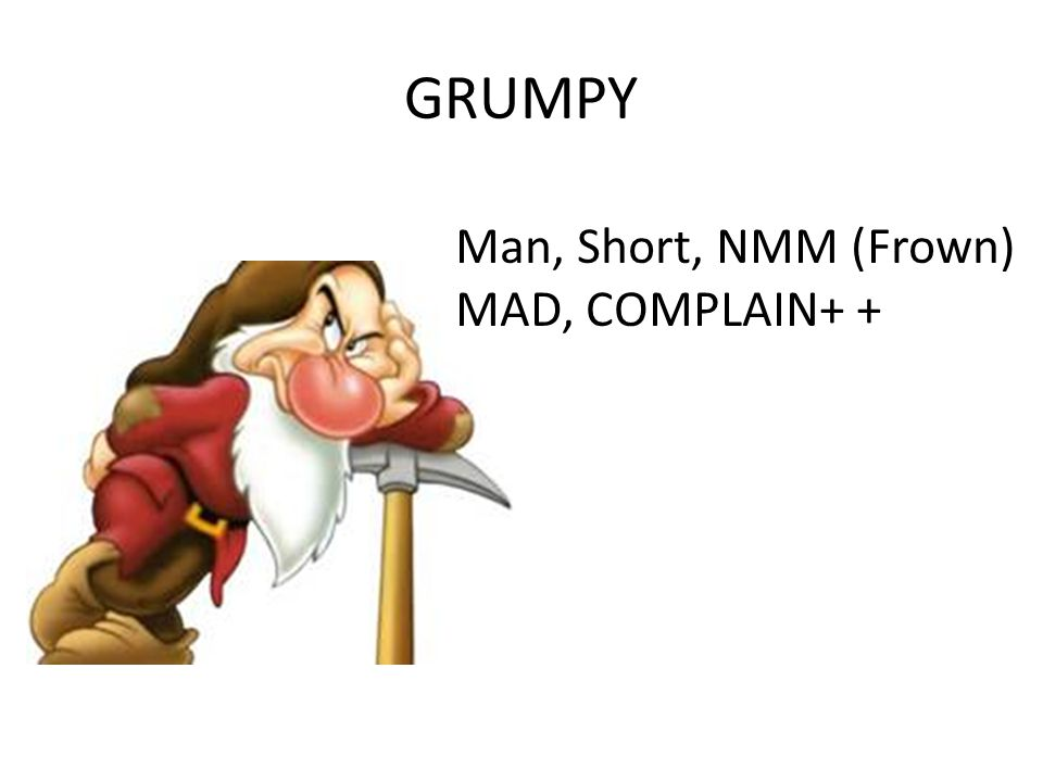 GRUMPY Man, Short, NMM (Frown) MAD, COMPLAIN+ +