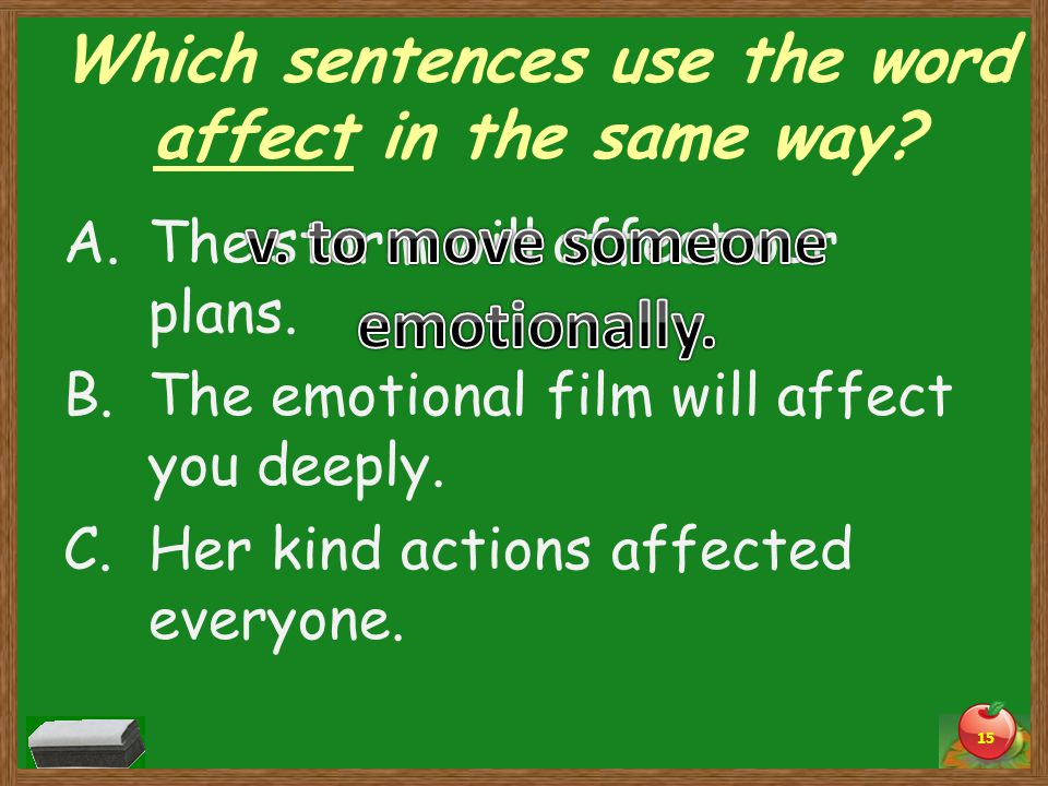 Which sentences use the word affect in the same way.