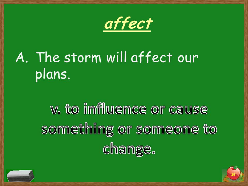 affect A.The storm will affect our plans. 16