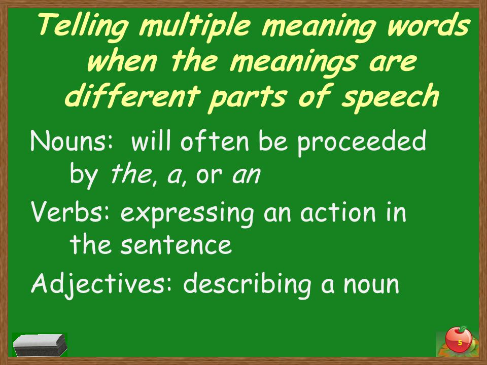Telling multiple meaning words when the meanings are different parts of speech Nouns: will often be proceeded by the, a, or an Verbs: expressing an action in the sentence Adjectives: describing a noun 5