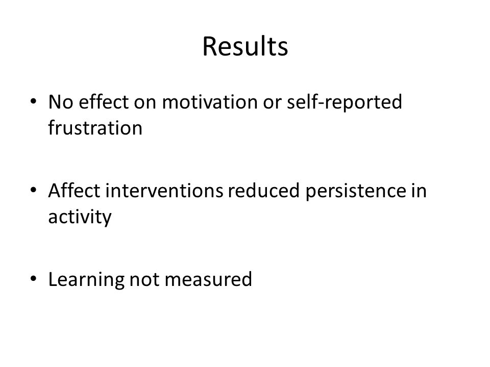 Results No effect on motivation or self-reported frustration Affect interventions reduced persistence in activity Learning not measured