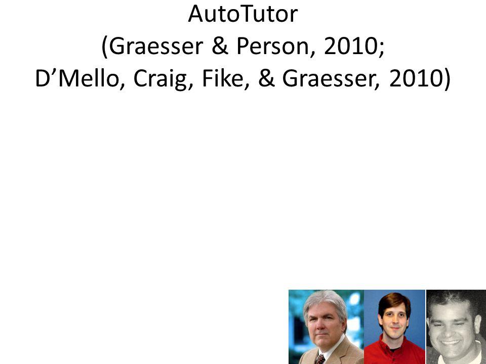 AutoTutor (Graesser & Person, 2010; D'Mello, Craig, Fike, & Graesser, 2010)