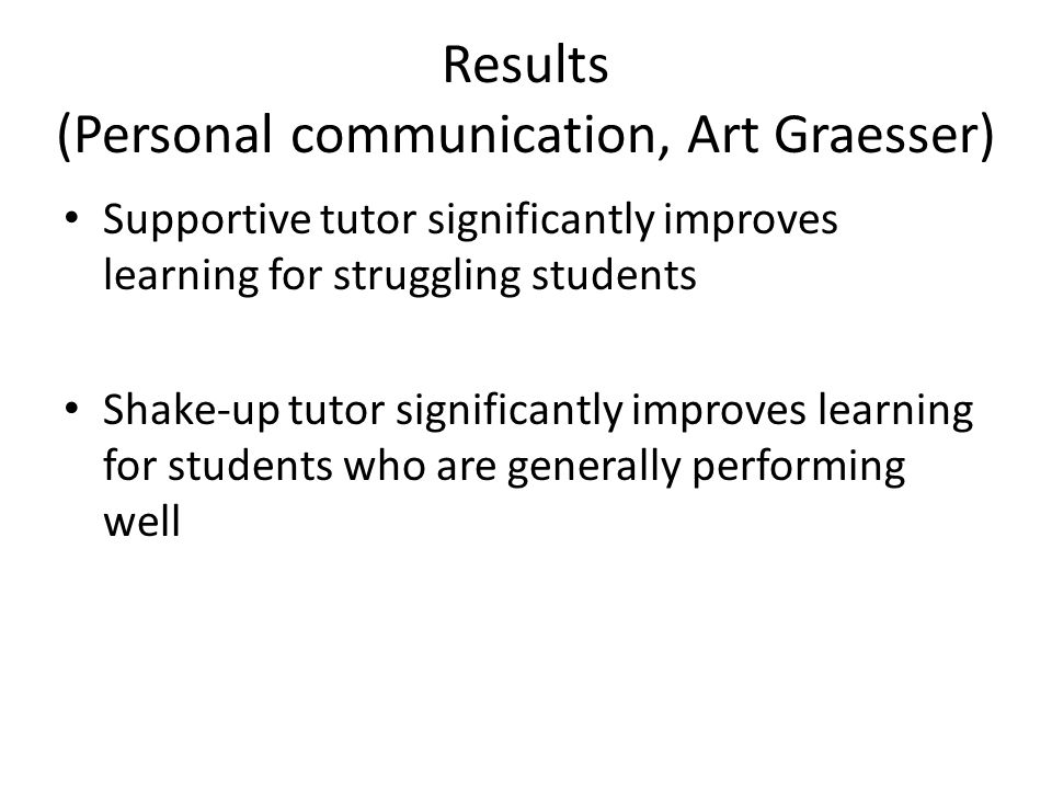 Results (Personal communication, Art Graesser) Supportive tutor significantly improves learning for struggling students Shake-up tutor significantly improves learning for students who are generally performing well