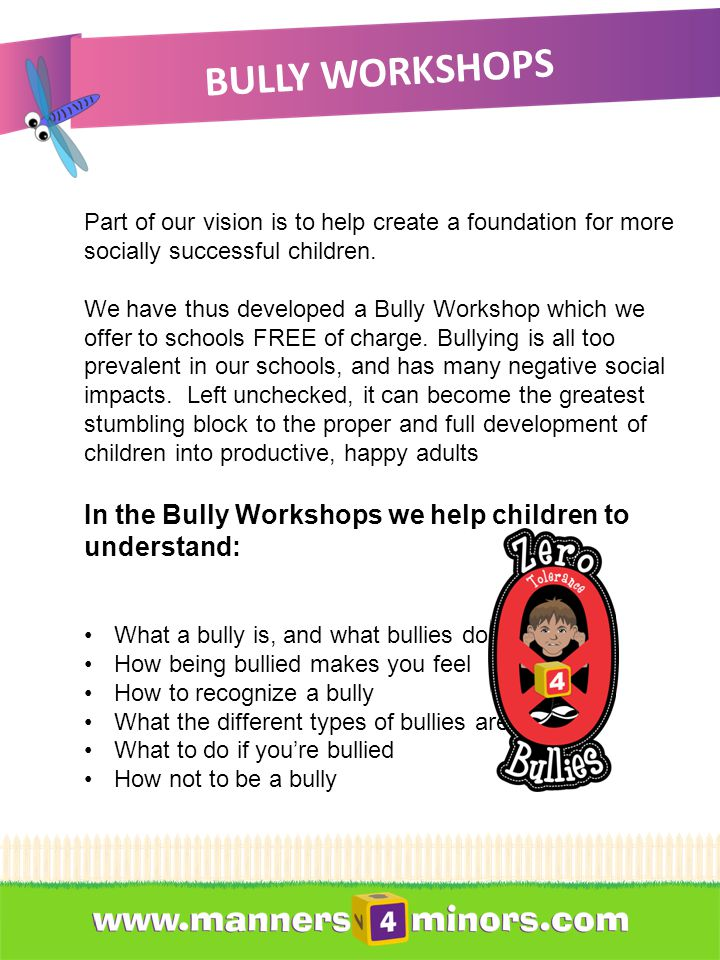 BULLY WORKSHOPS Part of our vision is to help create a foundation for more socially successful children.