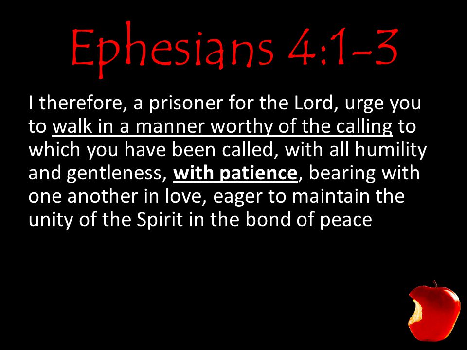 Ephesians 4:1-3 I therefore, a prisoner for the Lord, urge you to walk in a manner worthy of the calling to which you have been called, with all humility and gentleness, with patience, bearing with one another in love, eager to maintain the unity of the Spirit in the bond of peace