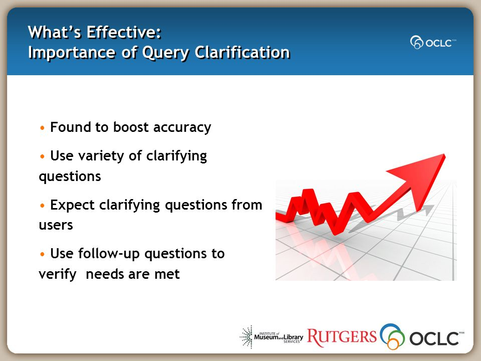 What's Effective: Importance of Query Clarification Found to boost accuracy Use variety of clarifying questions Expect clarifying questions from users Use follow-up questions to verify needs are met