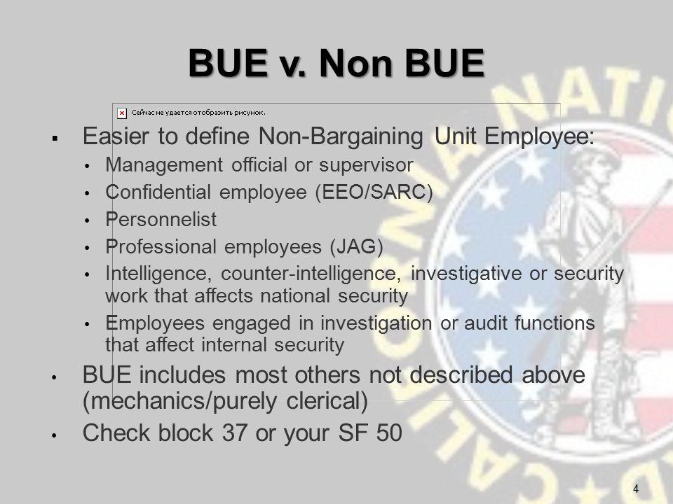 BUE v. Non BUE  Easier to define Non-Bargaining Unit Employee: Management official or supervisor Confidential employee (EEO/SARC) Personnelist Profes