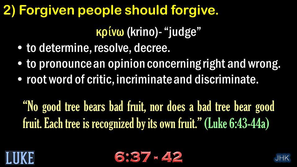 κρ ί νω (krino)- judge to determine, resolve, decree.