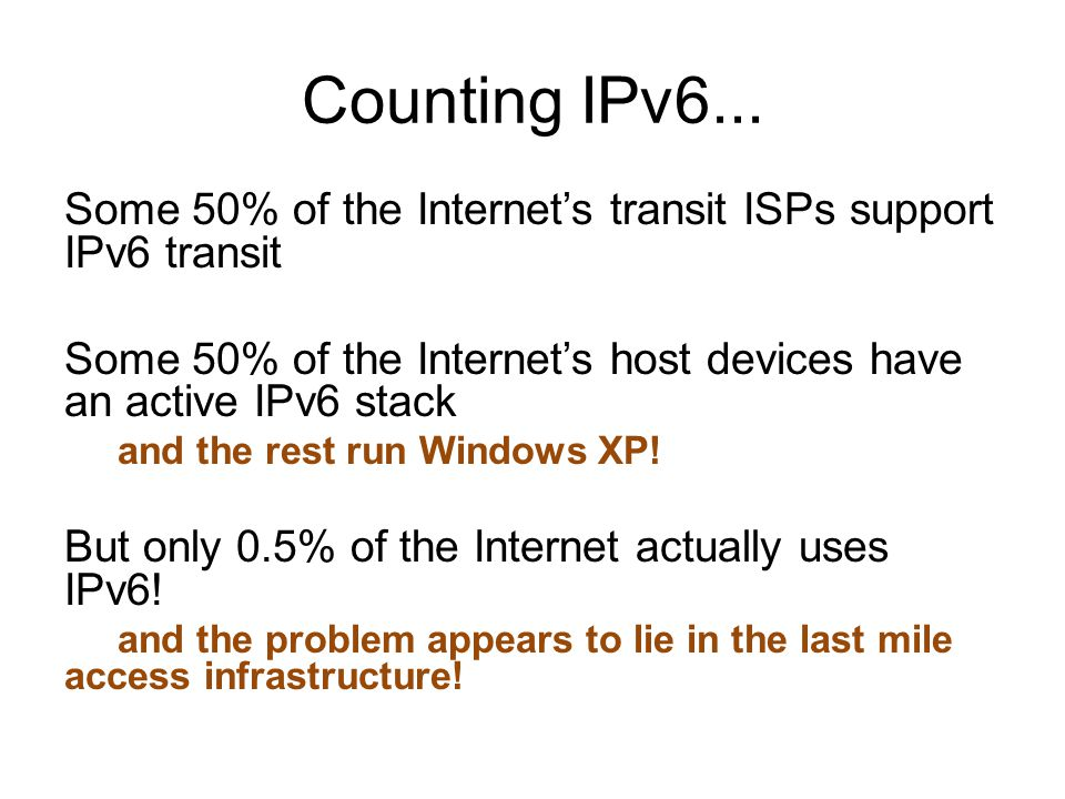 Counting IPv6...
