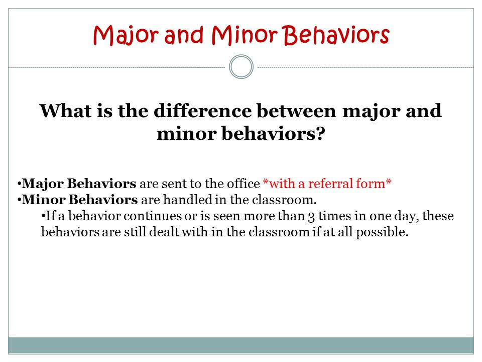 Major and Minor Behaviors What is the difference between major and minor behaviors.