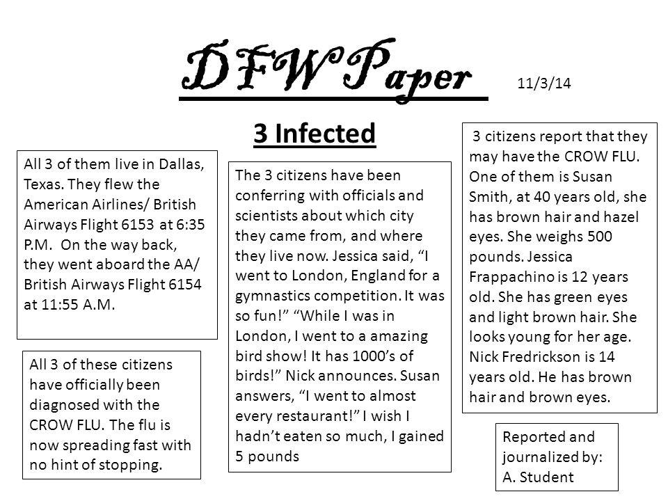 DFW Paper 11/3/14 All 3 of them live in Dallas, Texas.