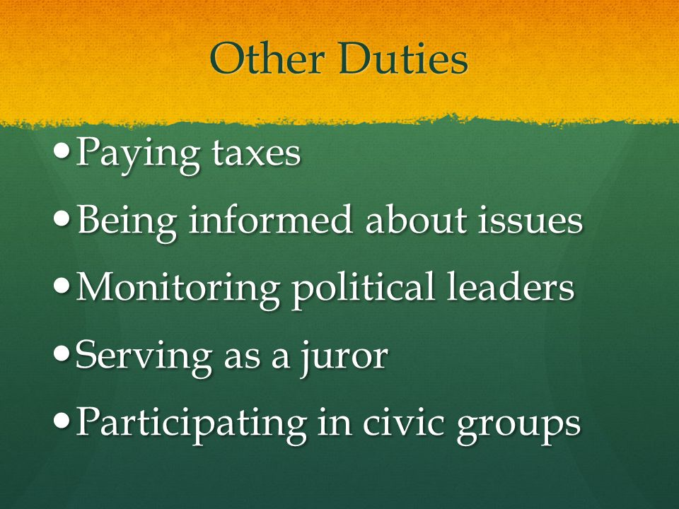 Other Duties Paying taxes Paying taxes Being informed about issues Being informed about issues Monitoring political leaders Monitoring political leade