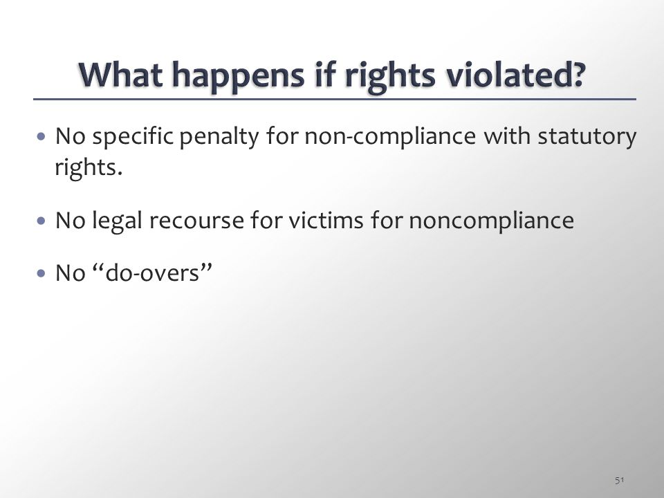 VICTIM RIGHTS COMPLIANCE 50