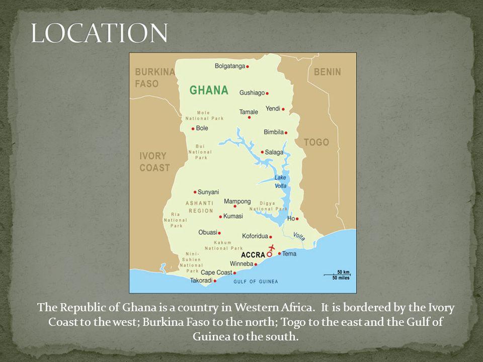 Ghana spans an area of 92,000 sq miles.