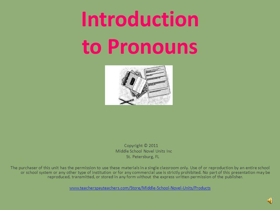 Introduction to Pronouns Copyright © 2011 Middle School Novel Units Inc St.