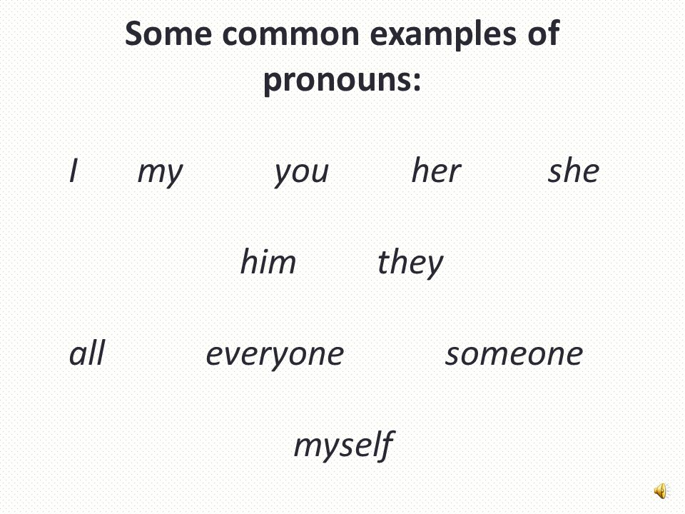 Some common examples of pronouns: Imyyouhershe himthey alleveryone someone myself