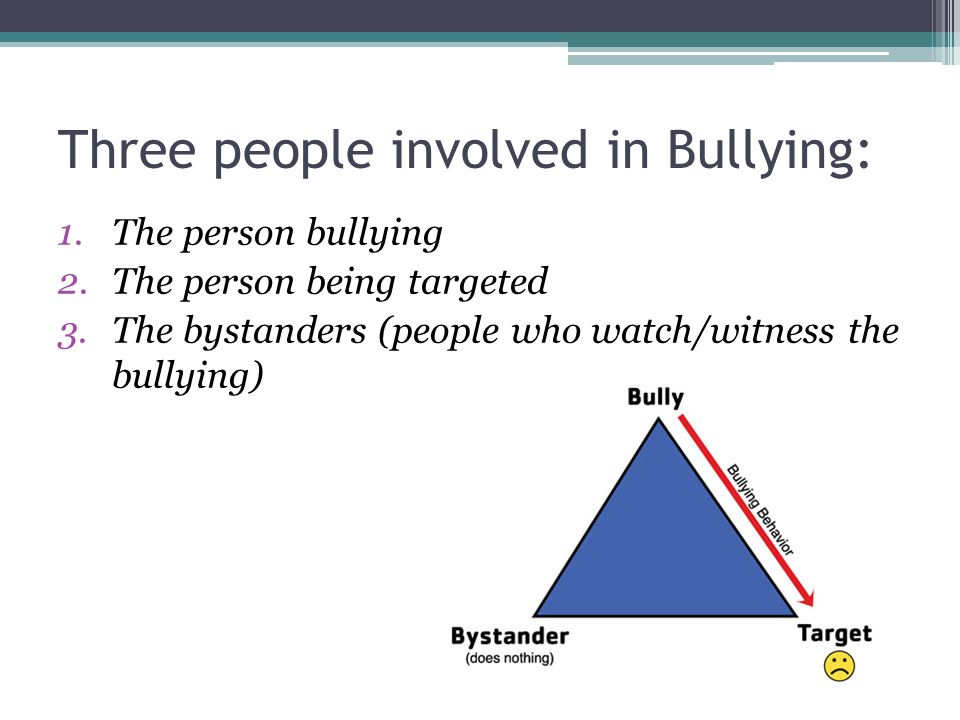 Three people involved in Bullying: 1.The person bullying 2.The person being targeted 3.The bystanders (people who watch/witness the bullying)