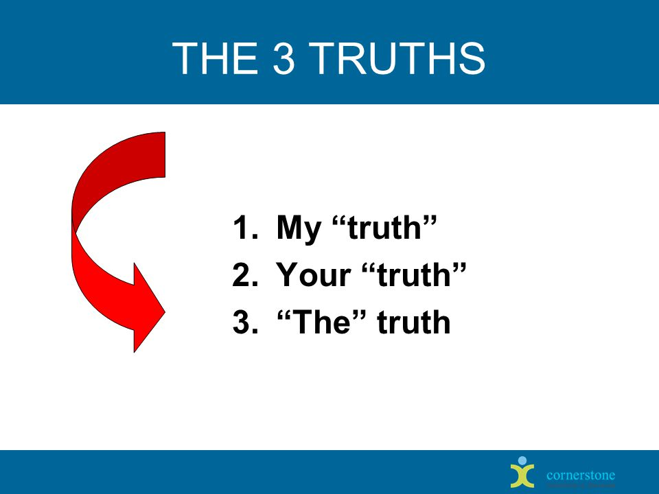 THE 3 TRUTHS 1.My truth 2.Your truth 3. The truth