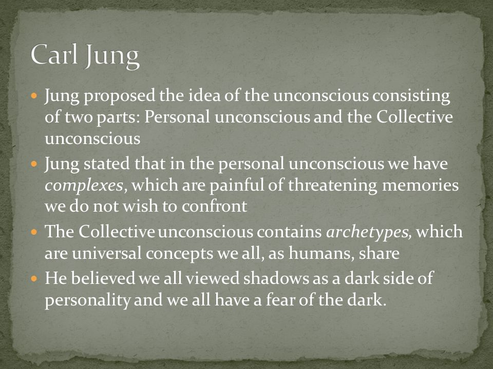 Jung proposed the idea of the unconscious consisting of two parts: Personal unconscious and the Collective unconscious Jung stated that in the persona