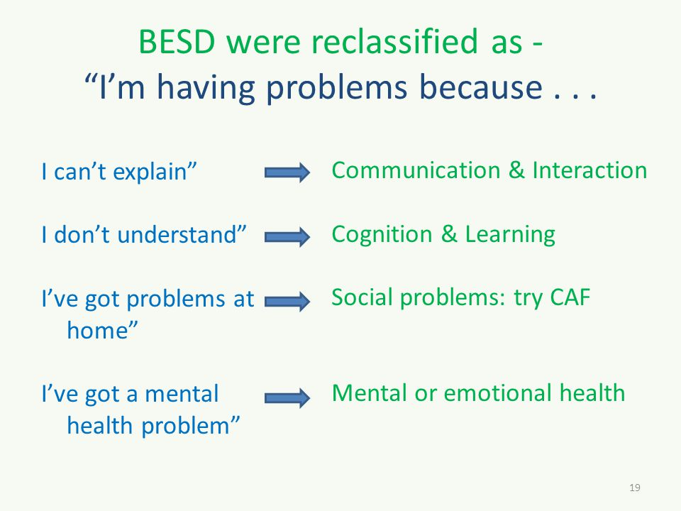 BESD were reclassified as - I'm having problems because...
