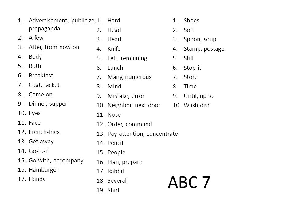 ABC 7 1.Advertisement, publicize, propaganda 2.A-few 3.After, from now on 4.Body 5.Both 6.Breakfast 7.Coat, jacket 8.Come-on 9.Dinner, supper 10.Eyes 11.Face 12.French-fries 13.Get-away 14.Go-to-it 15.Go-with, accompany 16.Hamburger 17.Hands 1.Hard 2.Head 3.Heart 4.Knife 5.Left, remaining 6.Lunch 7.Many, numerous 8.Mind 9.Mistake, error 10.Neighbor, next door 11.Nose 12.Order, command 13.Pay-attention, concentrate 14.Pencil 15.People 16.Plan, prepare 17.Rabbit 18.Several 19.Shirt 1.Shoes 2.Soft 3.Spoon, soup 4.Stamp, postage 5.Still 6.Stop-it 7.Store 8.Time 9.Until, up to 10.Wash-dish