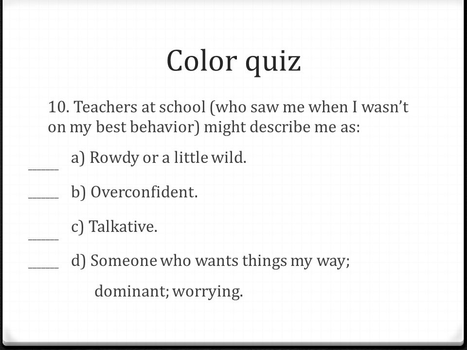 Color quiz 10.