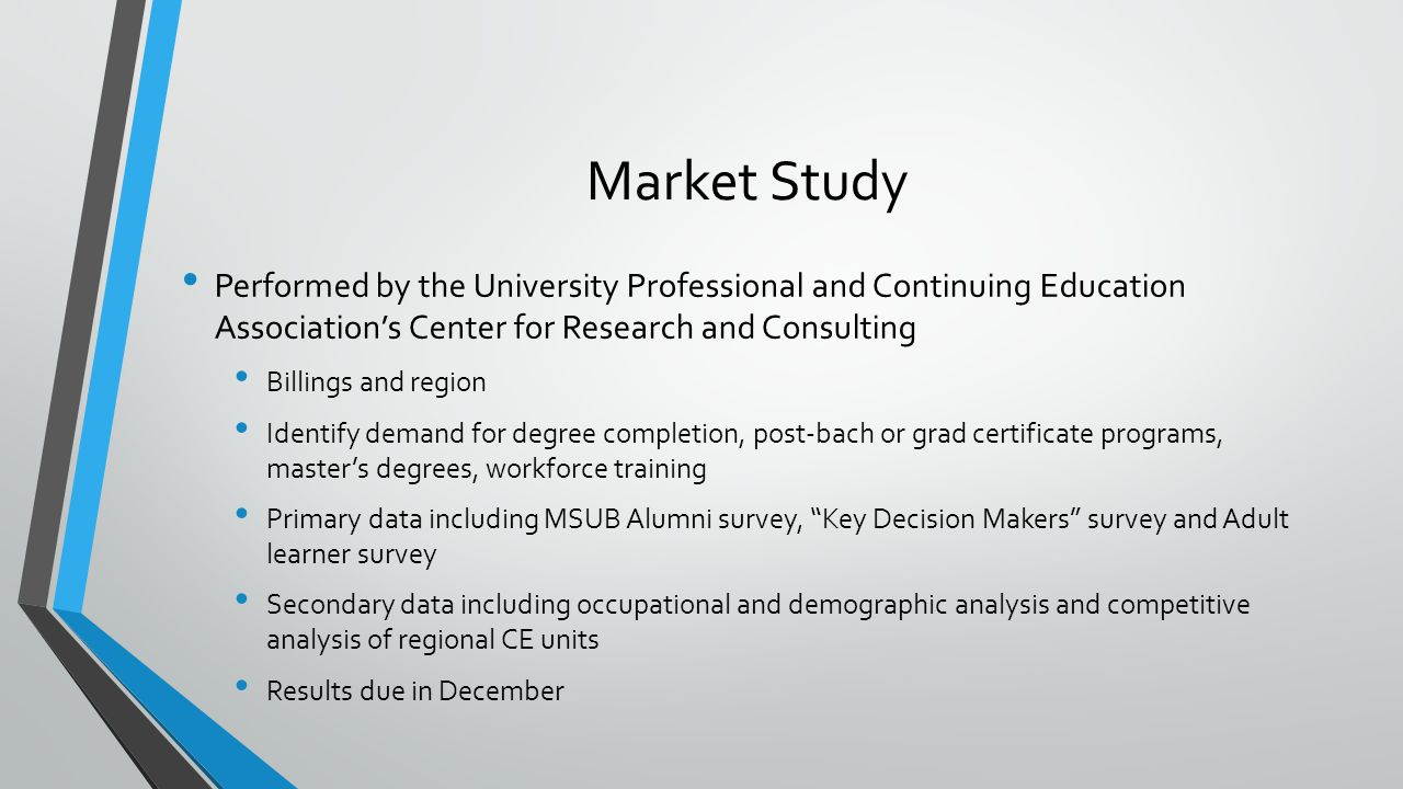 Market Study Performed by the University Professional and Continuing Education Association's Center for Research and Consulting Billings and region Identify demand for degree completion, post-bach or grad certificate programs, master's degrees, workforce training Primary data including MSUB Alumni survey, Key Decision Makers survey and Adult learner survey Secondary data including occupational and demographic analysis and competitive analysis of regional CE units Results due in December