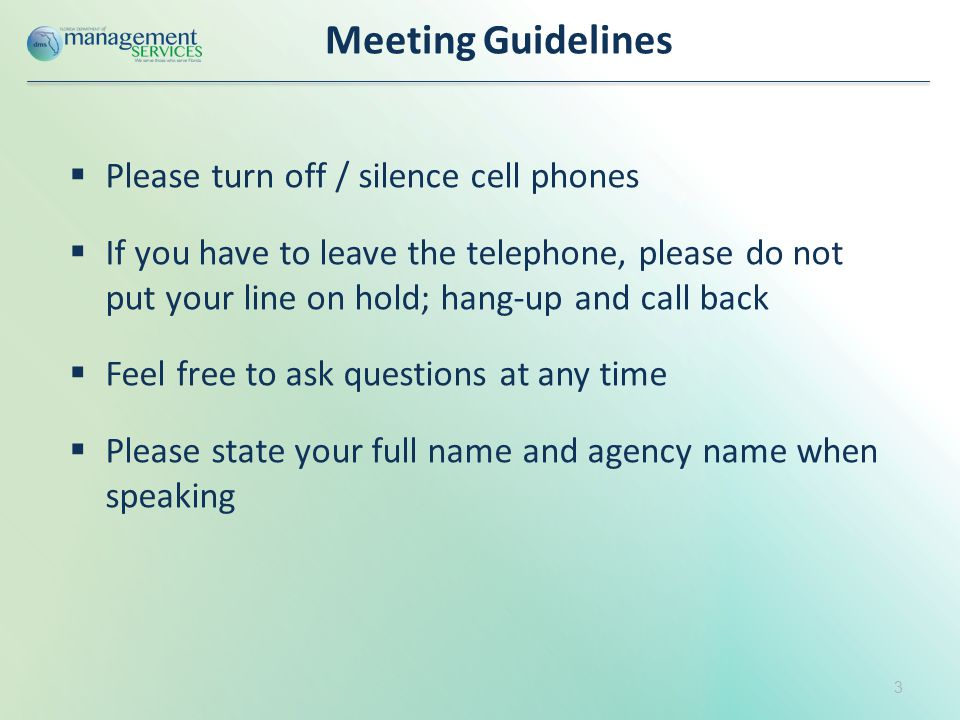 Meeting Guidelines  Please turn off / silence cell phones  If you have to leave the telephone, please do not put your line on hold; hang-up and call back  Feel free to ask questions at any time  Please state your full name and agency name when speaking 3